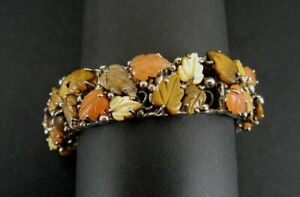 Bracelet Sterling Leaf Leave Multi Color Silver 925 Jasper Tiger's Eye Carnelian