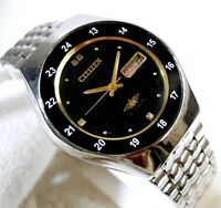 CITIZEN AUTOMATIC DAY DATE BLACK  DIAL 24 HOURS RAILWAY TIMING MENS WATCH  37MM