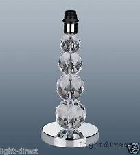 CRYSTAL TOWER LAMP BASE TABLE DESK BEDSIDE ACRYLIC CHROME 35cm TALL