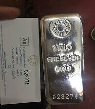 1 KILO 999 SILVER MMTC PAMP CAST BAR