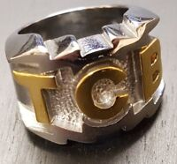 Elvis Presley TCB Heavy Silver & Gold Tone Ring Lighting Bolts UK Free P&P