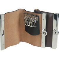 Men's Genuine Leather Keychain Holder 6 Key Rings Cowhide Wallet Buckle