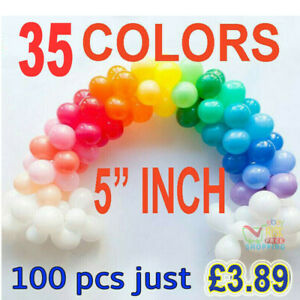 "100 Quality Standard Finish 5"" Small Round Latex Balloons Choose Colour 9 baloon"