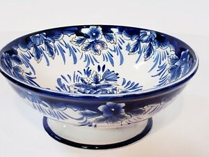 "I. Godinger & Co. 7 1/2"" Floral Blue & White Pedestal Bowl Porcelain"