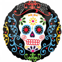 "Halloween Day Of The Dead Mexican Party 18"" Foil Balloon Helium Skull Decoration"