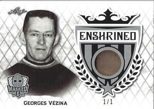 2017-18 Georges Vezina Leaf Masked Men Enshrined Silver Jersey 1/1 Canadiens