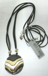 "Robert Lee Morris Soho gold black silver medallion Long Strap 20"" Necklace NEW"