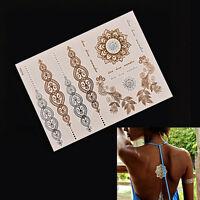 2PCS Flash Tattoo Metallic Temporary Gold Silver Body Henna Transfer Sticker FG