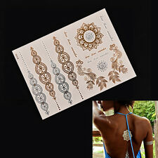 Metallic Flash Temporary Tattoos Sticker Temporary Body Art Gold Silve PFCA