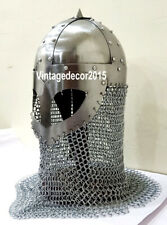 Armor Viking Mask Helmet with Chain Mail Medieval Armor Role Play Costume Helmet