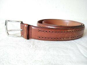 Allen Edmonds men's Brown Leather belt w/silver color solid brass buckle Size 40