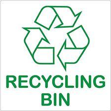 Bac de recyclage signe 87x87mm auto-adhésif sticker recycler logo environnement label