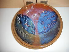 CRICH Diana digne British Studio pottery bowl bleu rose et marron fleurs