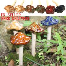 6Pcs Cute Ceramic Toadstools Mushroom Yard Garden Plant Pots Ornament Decoration