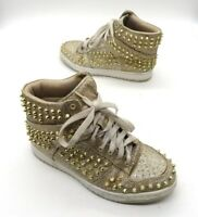 STEVE MADDEN Size 6.5 Gold Stud Spike Lace Up High Top Sneakers