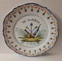 Antique French Faience Charger/Plate ~ French Revolution ~ Vive 'W' la nation