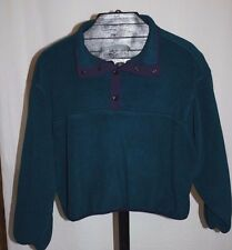 Vintage Woolrich Teal Fleece Snap Pullover Sweater Jacket Sz L Kids Youth U.S.A.