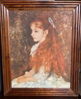 "Portrait Of Mademoiselle Irene Cahen D'Anvers with Frame Vintage. Signed 20""x16"""