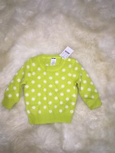 JCrew Crewcuts $145 Baby Girl 9-12 M Lime Green White 100 % Cashmere Sweater NWT