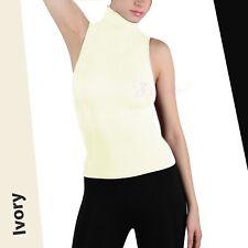Soft Sexy Seamless Ribbed Sleeveless Mock Neck Turtleneck Shaping Tank Top Shirt