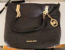 Michael Kors chocolate brown pebbled leather shoulder cross body bag