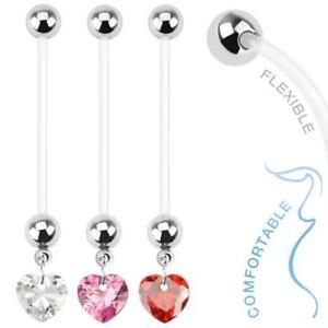 Bio Flex Pregnancy Navel Ring with Heart Gem Belly Dangle