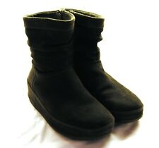 Fitflop Wobbleboard Side-zip Crush Boot Size 5 Everglade Green