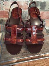 "Circa Joan & David Brown Strappy Sandals sz 6.5 medium 3"" heel Excellent"