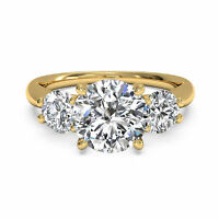 Brilliant Shape 1.30 Ct Natural Diamond Ring Solid 14 KT Yellow Gold Size M 1/2