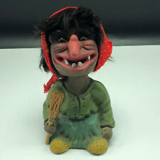 Bobble Head Germany vtg nodder bobble head Heico Wicked witch broom troll red