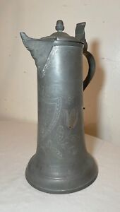 rare antique 1867 tall handmade engraved pewter flagon tankard pitcher stein .