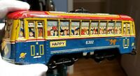 "Vintage Hadson Huge 10.5"" Tin Toy Japan Happy Speed Car Street TRAM Train Loco"