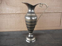 """Vintage pitcher vase 8"""" tall small two tone brass? Used Decorative"""
