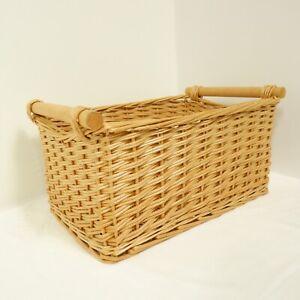 44x27x23cm Wicker Storage Basket Light Brown Home Decor Display Shop #3 F16