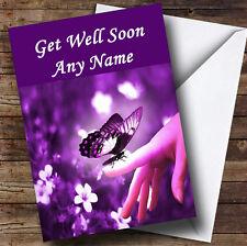 Purple Butterfly Personalised Get Well Soon Greetings Card