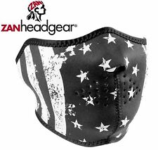 Zan Headgear Neoprene Half Face Mask Black White Stars Stripes US Flag USA