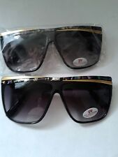 SUNGLASSES LARGE MULTI COLOR / GOLD CROSSOVER FRAME SHADED GRAY LENS NWT #024-E