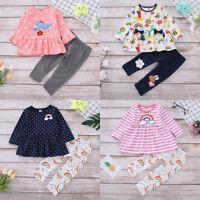 2pcs Toddler Kids Baby Girls Autumn Clothes T-shirt Tops Dress+Pants Outfits Set