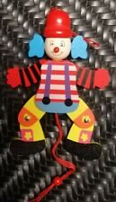 Cute & colorful Clown Christmas Ornament Wooden Pull String Toy