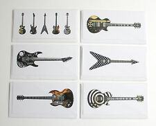 Famous Metal Guitars, Pack of 6 Greeting Cards, DL size