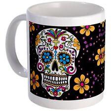 """11 ounce Mug - Sugar Skull BLACK Mug - S White """""""