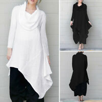 Women Tops Long Sleeve High Low Plain Blouse Asymmetric Shirt Pullover Oversized