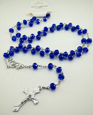 Rosary Chain Beaded Necklace Jesus Prayer Cross Pendant Crystal Hip Hop Iced Out