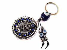 Blue Evil Eye  Key Chain Ring hanging decoration ornament  for protection-owl