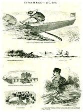 Gravure ancienne 1880  un tour de Marne par A. Grévin  issue du petit journal