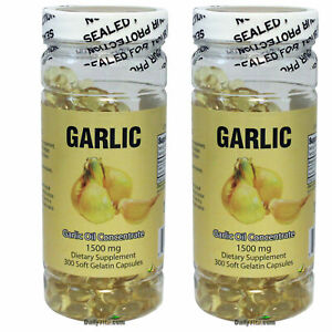 2X NuHealth Garlic Oil Concentrate, 1500mg 600 Softgels, FRESH, Made In USA