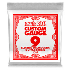 Ernie Ball .009 Plain Steel Electric or Acoustic Guitar String 6 pack 1009