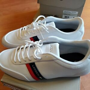 Lacoste STORDA Sport 319 1 Mens  8 Casual WHT/ NVY Leather Shoes New