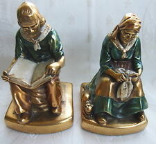 Antique VTG Daison 24 Gold Plated Joan and Darby Bookends w/ Dog Cat Metalliques