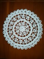 """Crotchet Cotton 8"""" DOILY in WHITE hand made for table / Porthole in Narrowboat"""